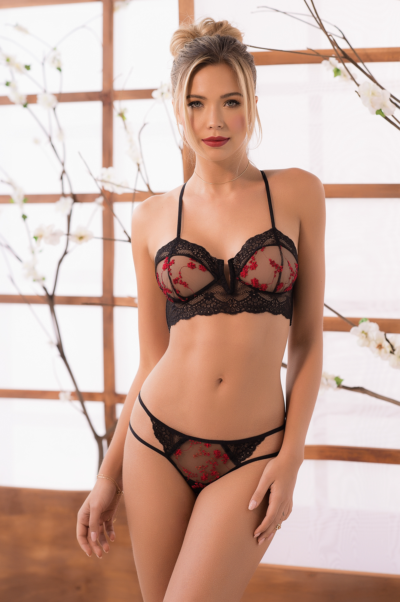 cool lingerie model in sexy pose